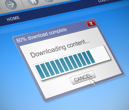 downloading content: Illustration depicting a computer dialog box with a downloading content concept.