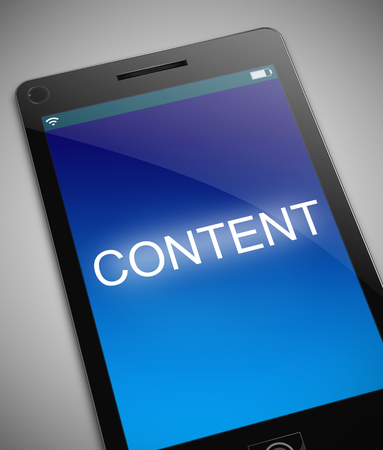 downloading content: Illustration depicting a phone with a content concept.