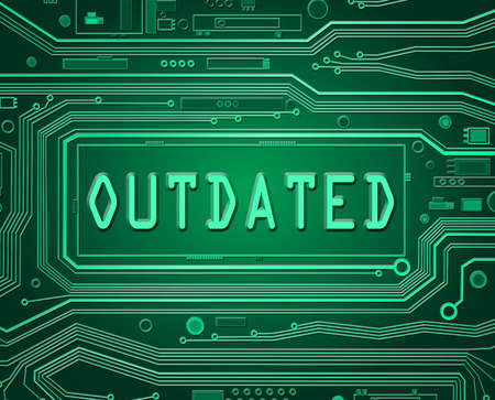outdated: Abstract style illustration depicting printed circuit board components with an outdated concept.