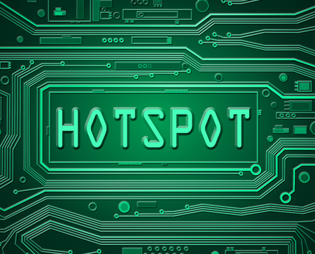 hotspot: Abstract style illustration depicting printed circuit board components with a hotspot concept.