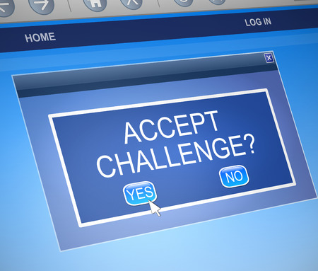 encounter: Illustration depicting a computer dialog box with a challenge concept.