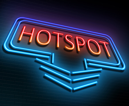 hotspot: Illustration depicting an illuminated neon sign with a hotspot concept. Stock Photo