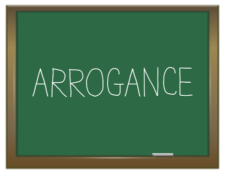 arrogancia: Illustration depicting a green chalkboard with an arrogance concept.