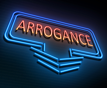 Illustration depicting an illuminated neon sign with an arrogance concept. Stock Photo