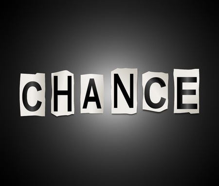 odds: Illustration depicting a set of cut out printed letters arranged to form the word chance.