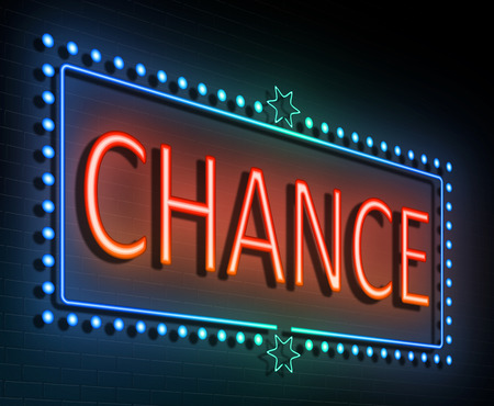 chance: Illustration depicting an illuminated neon sign with a chance concept. Stock Photo