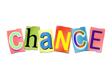 probability: Illustration depicting a set of cut out printed letters arranged to form the word chance.