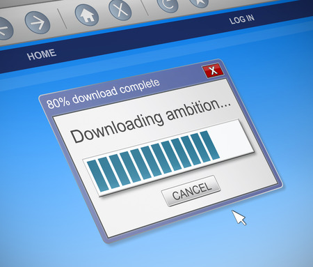 ambition: Illustration depicting a computer dialog box with an ambition concept.