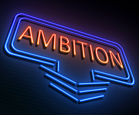 vocation: Illustration depicting an illuminated neon sign with an ambition concept.