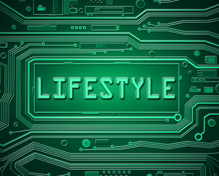 circumstances: Abstract style illustration depicting printed circuit board components with a lifestyle concept.