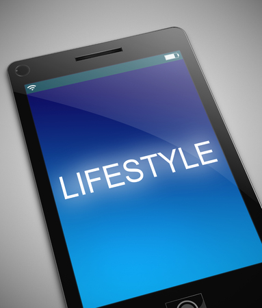 circumstances: Illustration depicting a phone with a lifestyle concept. Stock Photo