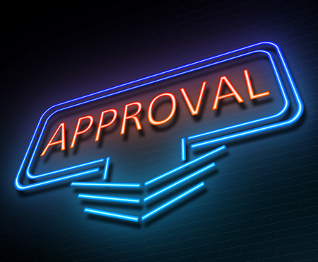Illustration depicting an illuminated neon sign with an approval concept.