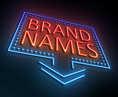 Illustration depicting an illuminated neon sign with a brand names concept. Фото со стока