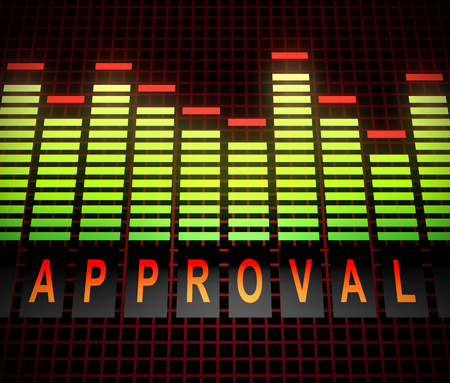 Illustration depicting graphic equalizer levels with an approval concept.