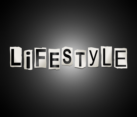 circumstances: Illustration depicting a set of cut out printed letters arranged to form the word lifestyle. Stock Photo