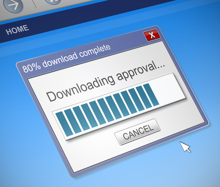 acclamation: Illustration depicting a computer dialog box with an approval concept.