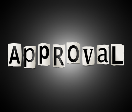 acclamation: Illustration depicting a set of cut out printed letters arranged to form the word approval. Stock Photo