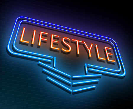 circumstances: Illustration depicting an illuminated neon sign with a lifestyle concept. Stock Photo