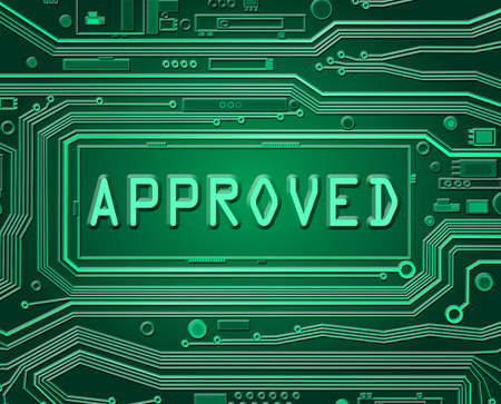 acclamation: Abstract style illustration depicting printed circuit board components with an approved concept.