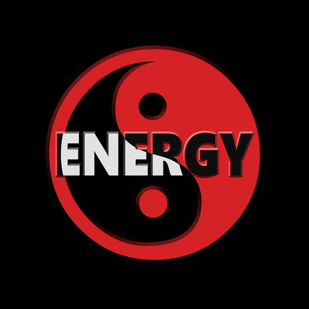 energy symbol: Digital 3d illustration depicting Yin and Yang symbol with an energy concept. Stock Photo