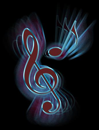 Digital artwork depicting abstract Treble Clef and Quaver music symbols.