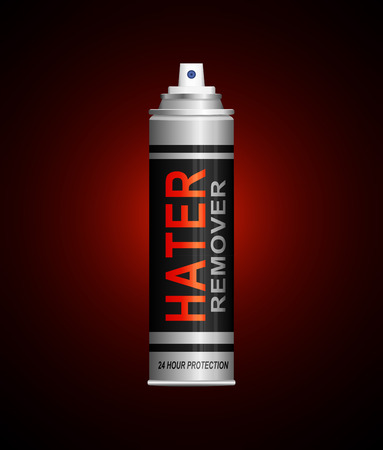 Illustration depicting an aerosol spray can with a haters concept.