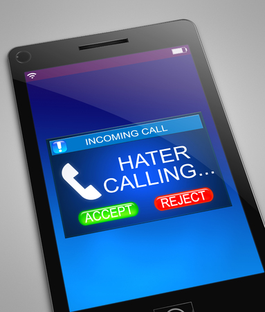 Illustration depicting a phone with a hater calling concept.
