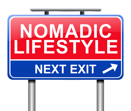 Illustration depicting a sign with a nomadic lifestyle concept.