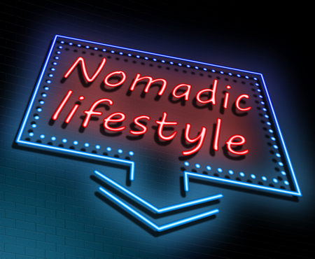 Illustration depicting an illuminated neon sign with a nomadic lifestyle concept. Stock Photo