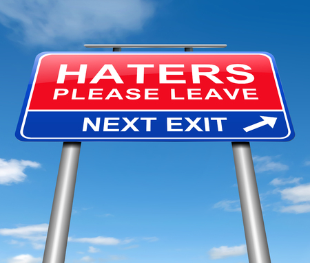 Illustration depicting a sign with a haters concept.