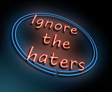"""Illustrazione raffigurante un segno al neon illuminato con un concetto di """"ignorare gli odi"""". Archivio Fotografico - 80193864"""