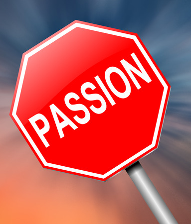 Illustration depicting a sign with a passion concept.