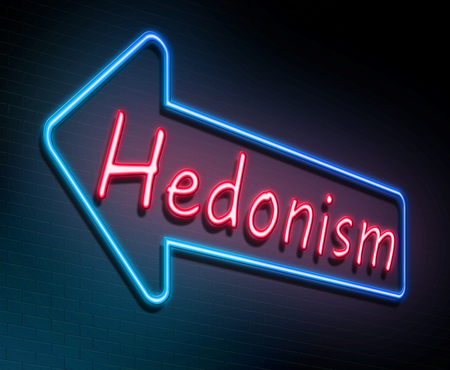 Illustration depicting an illuminated neon sign with a hedonsim concept. Banco de Imagens