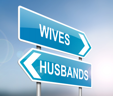 Illustration depicting a sign with a husbands and wives concept.