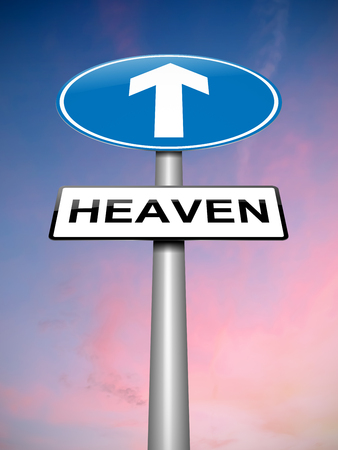 hereafter: Illustration depicting a road sign with a Heaven concept.