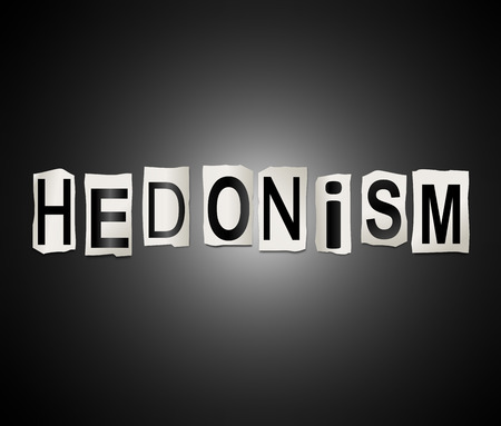 indulgence: Illustration depicting a set of cut out printed letters arranged to form the word hedonism.