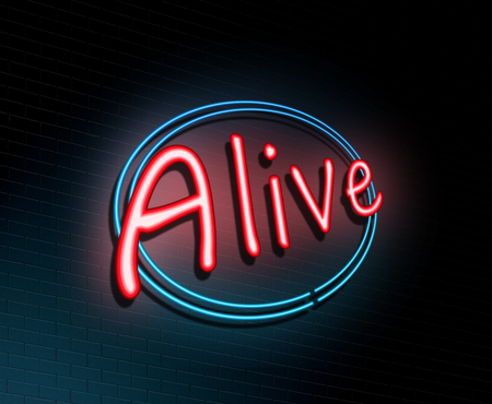 awaken: Illustration depicting an illuminated neon sign with an alive concept. Stock Photo