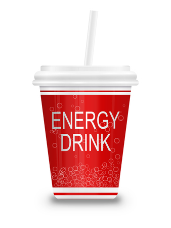 Illustration depicting a plastic energy drink container with straw over white.