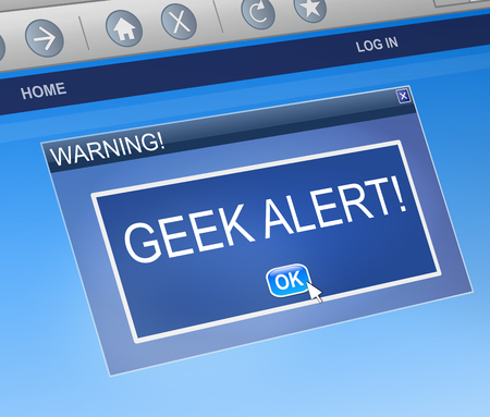 Illustration depicting a computer dialog box with a geek warning concept. Stock Photo