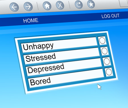 Illustration depicting a computer screen capture with a mental health options concept.