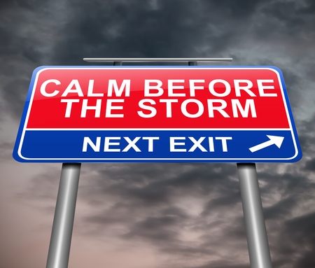 Illustration depicting a sign with a calm before the storm concept. Фото со стока