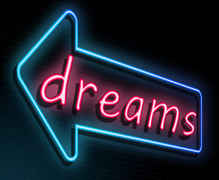 Illustration depicting an illuminated neon sign with a dreams concept.