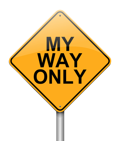 Illustration depicting a sign with a my way only concept. Stok Fotoğraf