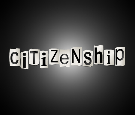 residency: Illustration depicting a set of cut out printed letters arranged to form the word citizenship. Stock Photo
