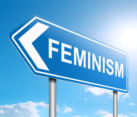Illustration depicting a sign with a feminism concept.