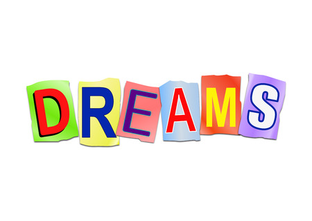 Illustration depicting a set of cut out printed letters arranged to form the word dreams.