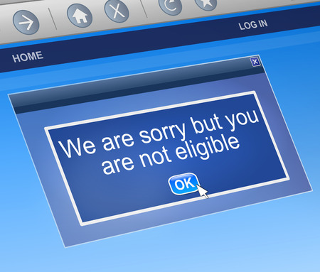 rejected: Illustration depicting a computer dialog box with a not eligible concept. Stock Photo