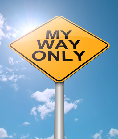 Illustration depicting a sign with a my way only concept. Stock Photo