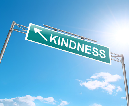 Illustration depicting a sign with a kindness concept.