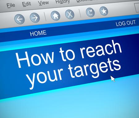 3d Illustration depicting a computer screen capture with a reaching targets concept. Banco de Imagens